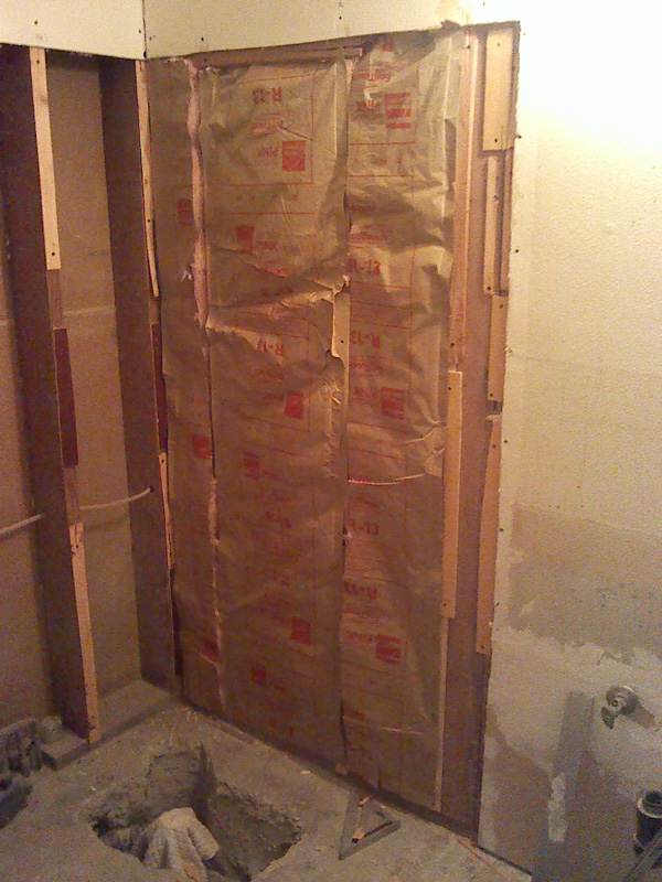 The exterior wall is insulated.
